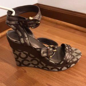 Rare Coach Bronze double strap 7.5 wedge shoe